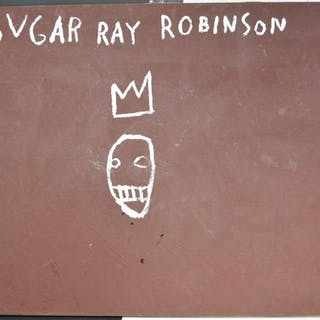 Large Basquiat - Sugar Ray Robinson - Painting oil on