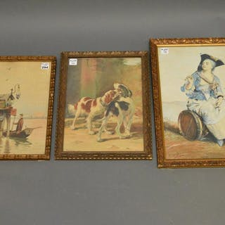 3 antique watercolors 2 signed VH Alchian,  dogs signed