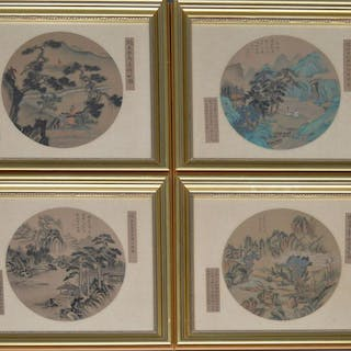 4 Chinese round watercolor on silk paintings overall 18