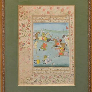 Pair of Antique Indian Mughal Horse Battle Watercolor