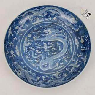 CHINESE QING DYNASTY BLUE & WHITE SHALLOW BOWL with six