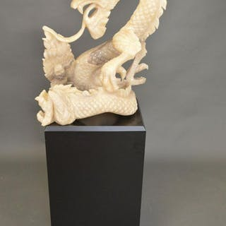 LARGE CARVED HARDSTONE CHINESE DRAGON.  Condition: one