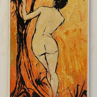 Standing Nude Painting, oil on wood, signed illegibly