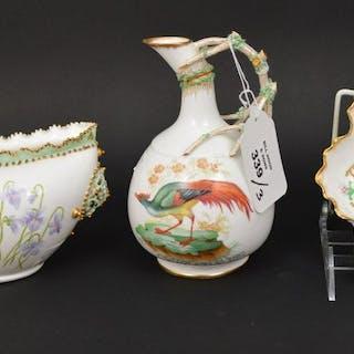 3 antique porcelain pieces, (2) Lotus Ware & (1)