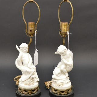 Pair of Signed Porcelain Cherubs Table Lamps with Sea
