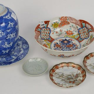 Lot of Six (6) Chinese Export Wares. Prunus blue &
