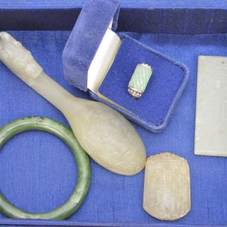 Lot (5) Assorted Chinese Hardstone Items. Including