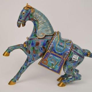 """Large Cloisonné rearing horse, 15 1/2""""h  x 10 1/2""""w"""