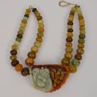 Jade beaded necklace with pendant