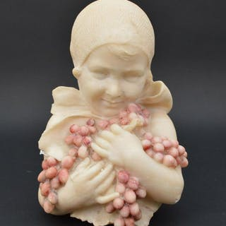 Alabaster bust of little girl with bundle of grapes