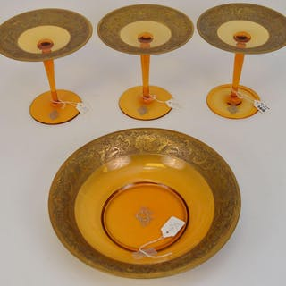 4 Moser Amber Glass Articles. 1 Center bowl and 3