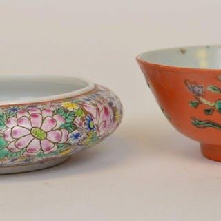 """2 Chinese Glazed Porcelain Bowl & Brush pot 4.5""""-5"""""""