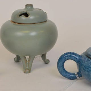 "3 Chinese Pottery Article. 2 teapots 4.5""-7"" with"