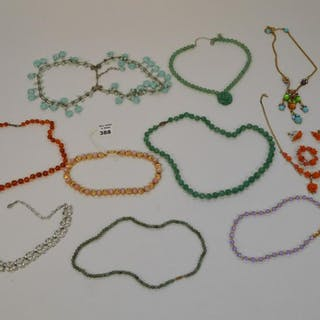 13 pc Designer Signed Costume Lot. 10 Necklace and 1
