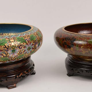 2 CHINESE CLOISONNE BOWLS each with wood base.  1