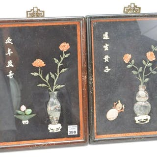 PAIR CHINESE CORAL JADE AND HARD STONE SCENES.  Each in