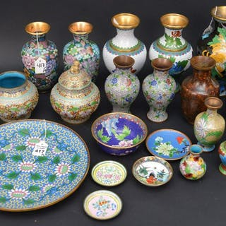 19 Pieces Chinese Cloisonné.  Largest Vase Height 9