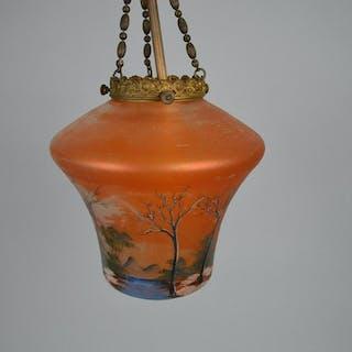 Vintage Art glass painted landscape pendant lamp with