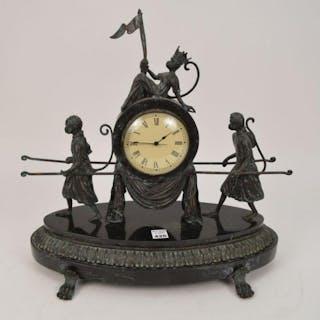 Oval platform supporting figural shelf clock