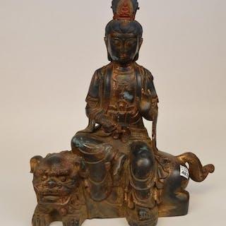 "Chinese seated buddha on foo dog, 20""h x 17""w"