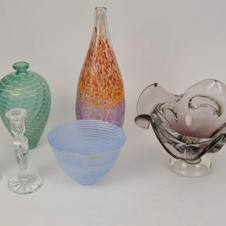 "Art glass lot,  waves on green glass vase (11""h) white"