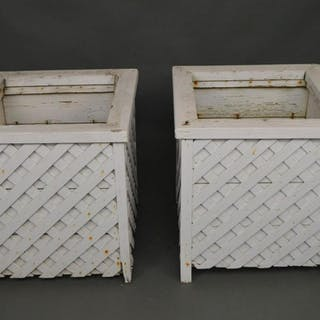 "Pair old Giant wood planters, Chippendale style, 25""h x"