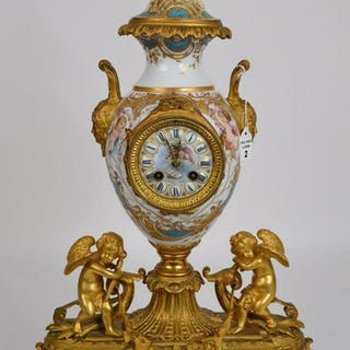 Sevres Porcelain & Gilt Bronze Clock with time and