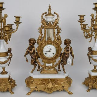 French Gilt Bronze & Marble Clock Garniture.