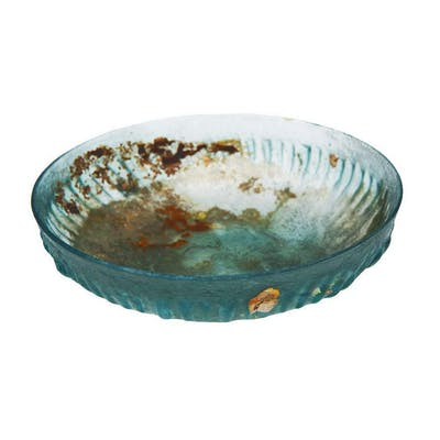Ancient Hellenisitic ribbed glass bowl c.1st century