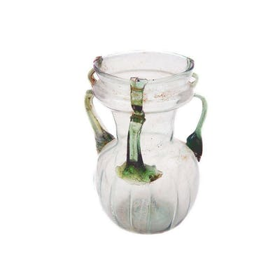 Ancient Roman Three handled Glass Jar c.2nd century AD.