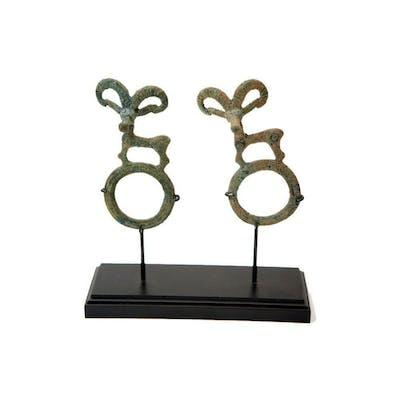 A Pair of Ancient Luristan Bronze Finial c.1000 BC.