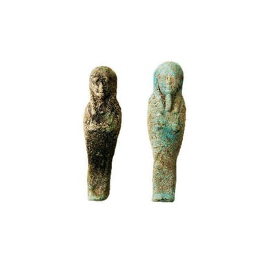 Lot of 2 Ancient EGYPTIAN Faience Ushabties Late Period