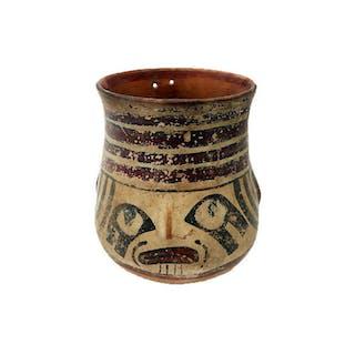 Nasca Pottery head vessel, Ex Musee Des Beaux Arte
