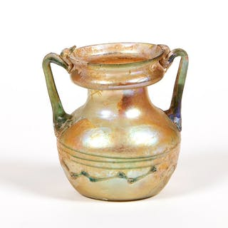 Ancient Roman Twin handled Glass Jar c.2nd century AD.