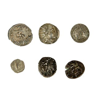 lot of 6 Ancient greek silver coins.