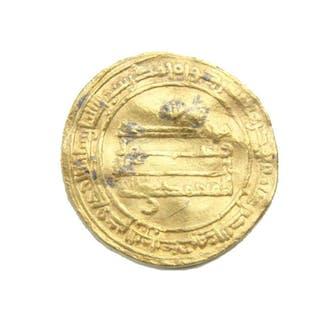 Islamic gold coin, Abbasid. al-Mu`tamid, AH