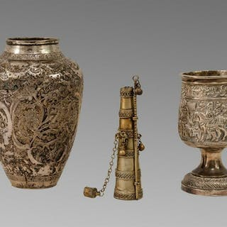 Lot of 3 Antique Persian silver Vase, Cup, Kohl Jar.