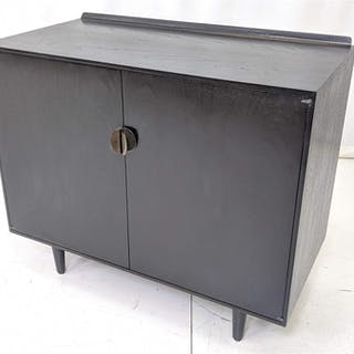 BAKER FINN JUHL Ebonized Two Door Cabinet Server. Raise