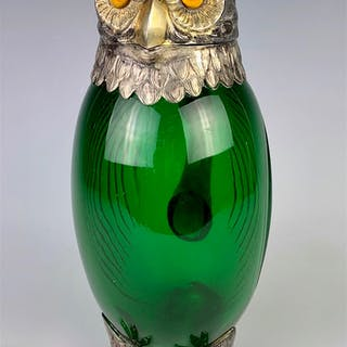 Owl Decanter with Glass Eyes, Hallmarked