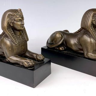 Pair of Antique Bronzed Metal Sphinx Figures