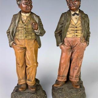 Johann Maresch (Ger 1821-1914) Pair Black Figures