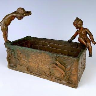 "Austrian Bronze ""Putti Swimming"" by Henri Ple"