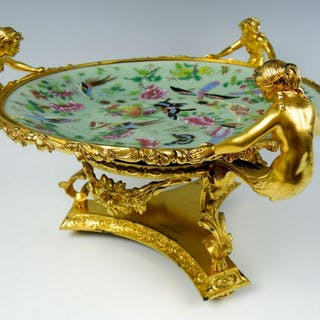 French Gilt Bronze & Celadon Compote