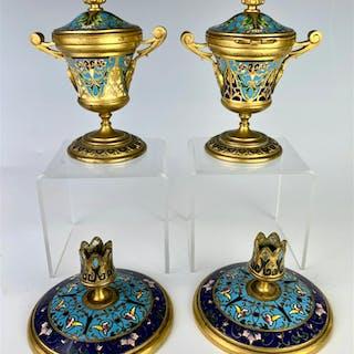 French Champleve & Gilt Bronze Urns & Candlesticks