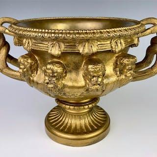 Antique Gilt Bronze Warwick Vase w/ Foundry Seal