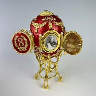 Faberge Style Red Enamel Egg w/ Picture Frames