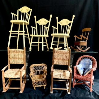 Group of 8 Miniature Chairs, Doll Furniture