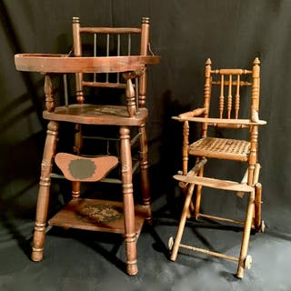 Pair of Antique Miniature High Chairs c. 1900
