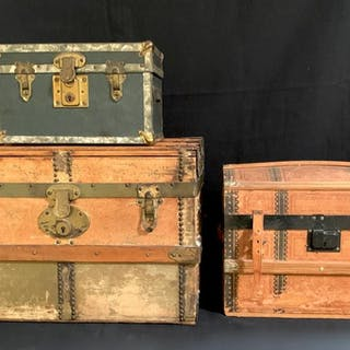 3 Antique Doll Trunks c. 1900