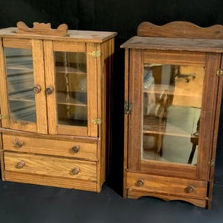 Pair of Antique Doll Furniture Cabinets c. 1900